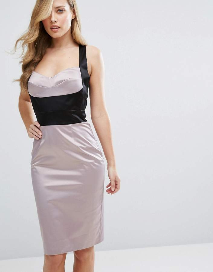 Elise Ryan Satin Pencil Dress With Bust Cup Corset Detail