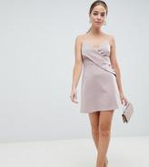Asos DESIGN Petite cami button wrap mini shift dress