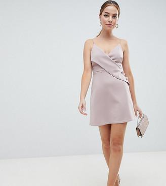 Asos DESIGN Petite cami button wrap mini shift dress-Beige