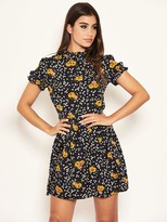 AX Paris Petite Ditsy Floral Day Dress - Black