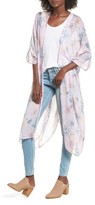 Sole Society Women's Faded Floral Duster Kimono Scarf