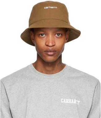 Carhartt Work In Progress Brown Logo Script Bucket Hat