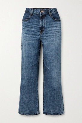 J Brand Joan Cropped High-rise Wide-leg Jeans - Mid denim