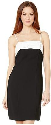 CeCe Sleeveless Color-Block Dress with Bow (Rich Black) Women's Dress