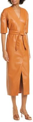 Nanushka Penelope Faux Leather Wrap Dress