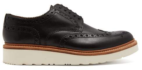 Grenson Archie Raised Sole Leather Oxford Brogues - Mens - Black