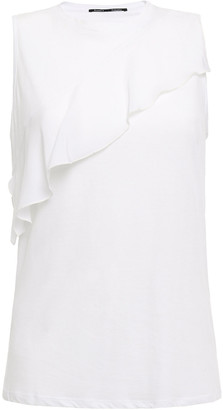 Proenza Schouler Ruffled Silk Crepe De Chine-trimmed Cotton-jersey Tank