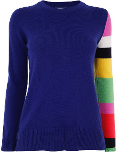 Jane Says - Astral Colour Block Sleeve Jumper - S - Blue/Pink/White