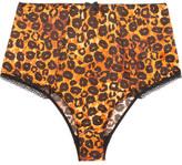 Agent Provocateur Felinda Lace-trimmed Leopard-print Stretch-silk Satin Briefs - Leopard print