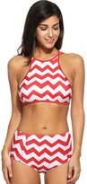 Simple Women Push up Padded Bikini High-waisted Tankinis Chevron Print Swimsuit 2 Piece (XL, )