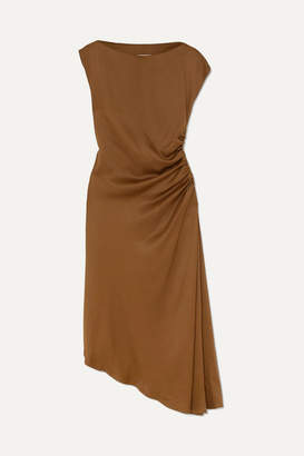 MM6 MAISON MARGIELA Asymmetric Ruched Satin Midi Dress - Brown