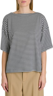 Marni Oversized Tee With Stripes And Logo Patch