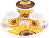 Spigarelli Sugar and Mocha Cups Sunflower Ceramic Set w/Tray