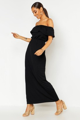 boohoo Bardot Ruffle Maxi Dress