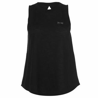 USA Pro Womens Loose Tank Top Performance Vest Sleeveless Crew Neck Lightweight Black 10 (S)
