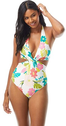 Kate Spade Tropical Floral Knotted Halter Cutout One-Piece (White) Women's Swimsuits One Piece