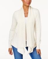 Karen Scott Petite Pointelle-Knit Shawl-Collar Cardigan, Created for Macy's