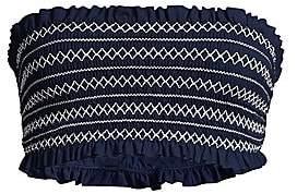 Tory Burch Women's Smocked Costa Bandeau Bikini Top