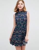 Iska Highneck Skater Dress In Floral Print