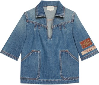 Gucci Children's denim shirt with labels