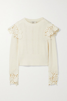 Sea Zandra Guipure Lace-trimmed Ribbed Cotton-blend Sweater - Ivory