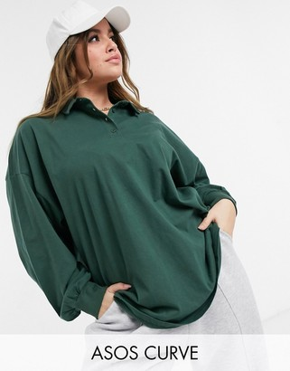 ASOS DESIGN Curve polo top with long sleeves in forest green