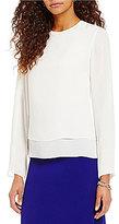Preston & York Cora Round Neck Long Sleeve Solid Georgette Blouse