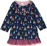 Navy & Pink Holiday Tree Ruffle Nightgown - Girls