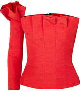 Carmen March - Off-the-shoulder Pleated Taffeta Bustier Top - Red