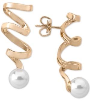 Majorica Imitation Pearl Spiral Drop Earrings