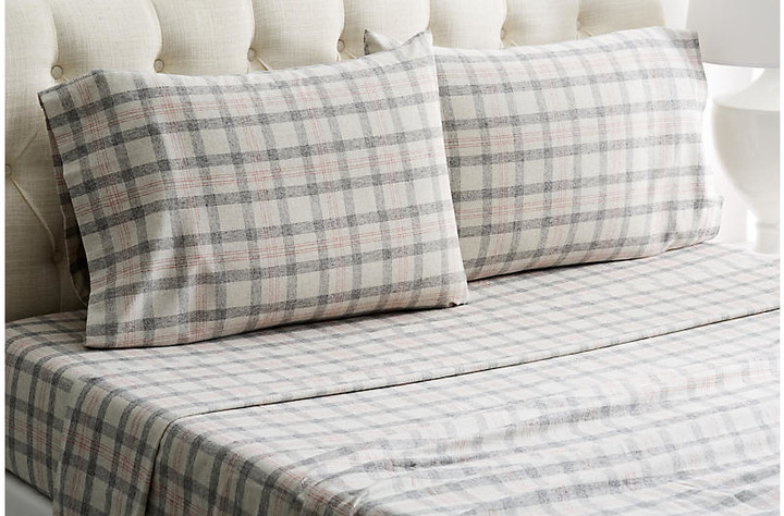 Belle Epoque Checkered Flannel Sheet Set - Gray/Red