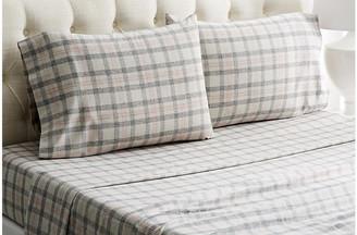 Belle Epoque Checkered Flannel Sheet Set - Gray/Red Full