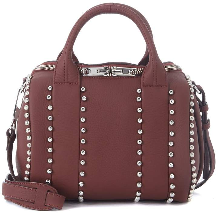 Alexander Wang Mini Rockie Red Leather Bowler Bag With Studs