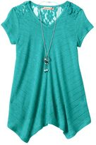 Speechless Girls 7-16 & Plus Size Lace Top & Necklace Set