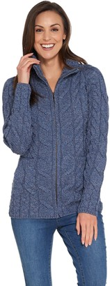 Kilronan Merino Wool Zip Front Sweater with Stand Collar