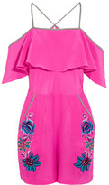 Matthew Williamson Sakura Floral Embroidered Silk Playsuit - Fuchsia