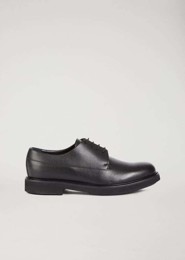 Emporio Armani Boarded Leather Derby With Decorative Stitching