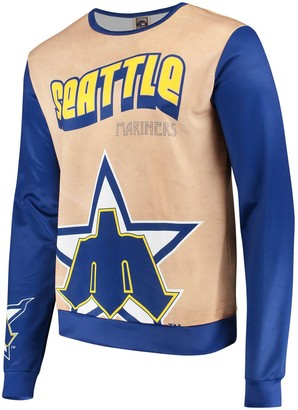 Men's Tan/Navy Seattle Mariners Sublimated Crew Neck Sweater