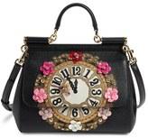 Dolce & Gabbana 'Small Miss Sicily - Floral Clock' Calfskin Leather Satchel - Black