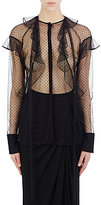 Givenchy Women's Ruffle-Trimmed Tulle Blouse-BLACK