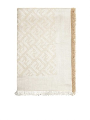 Fendi Ff Logo Silk And Cotton Jacquard Foulard