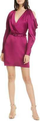 Jonathan Simkhai Pleated Cold Shoulder Long Sleeve Satin Minidress