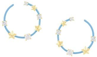 Eshvi Star Studded Hoop Earrings