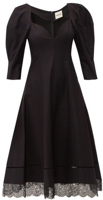 KHAITE Dina Puff-sleeve Cotton Midi Dress - Black