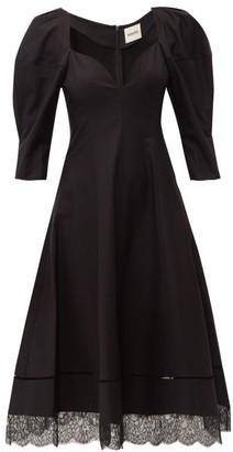 KHAITE Dina Puff-sleeve Cotton Midi Dress - Womens - Black
