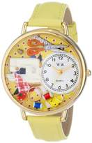 Whimsical Watches Sewing Yellow Leather and Goldtone Unisex Quartz Watch with White Dial Analogue Display and Multicolour Leather Strap G-0450001