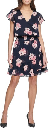 Tommy Hilfiger Lily Floral Cap Sleeve Chiffon Mini Dress