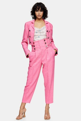 Topshop Womens Idol High Waisted Peg Trousers - Pink