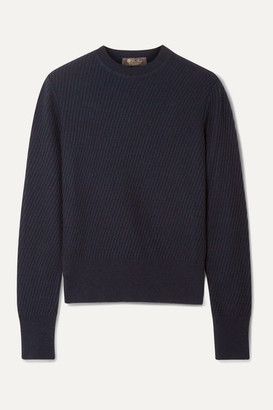 Loro Piana Ribbed Cashmere Sweater - Navy