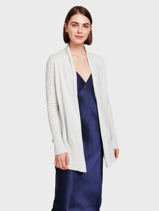White + Warren Essential Cotton Long Open Cardigan
